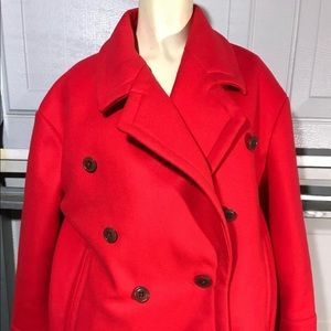 J Crew Women Size 6P Melton 100% Wool Red 2 Button